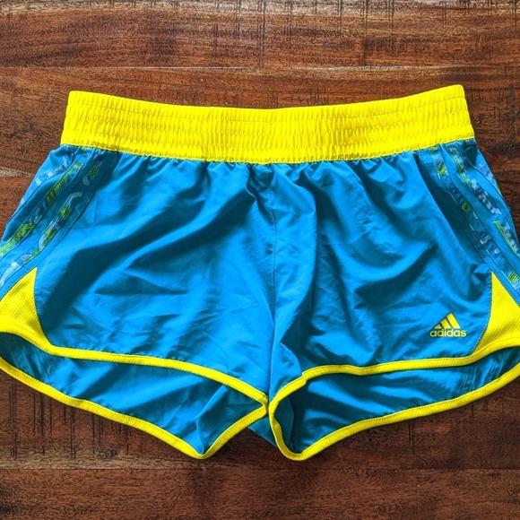 Adidas blue and yellow shorts medium